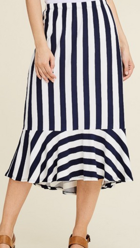 Navy and White Stripe Ruffle Skirt