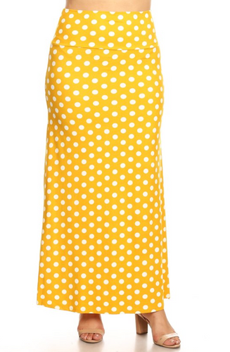 Plus Size A-Line Polka Dot Maxi Skirt