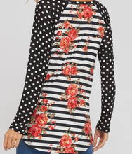 Load image into Gallery viewer, Black and White Polka Dot Floral Shirt