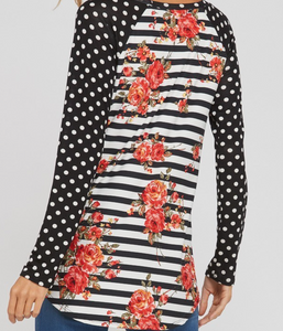 Black and White Polka Dot Floral Shirt