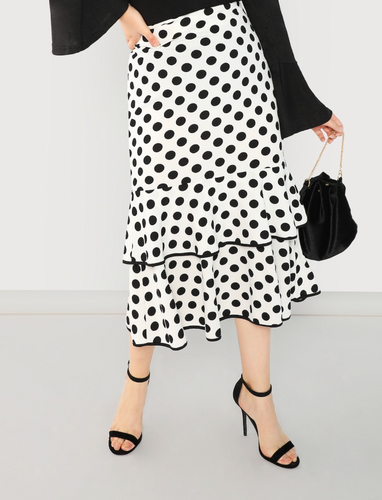 Plus Size White and Black Polka Dot Ruffle Skirt