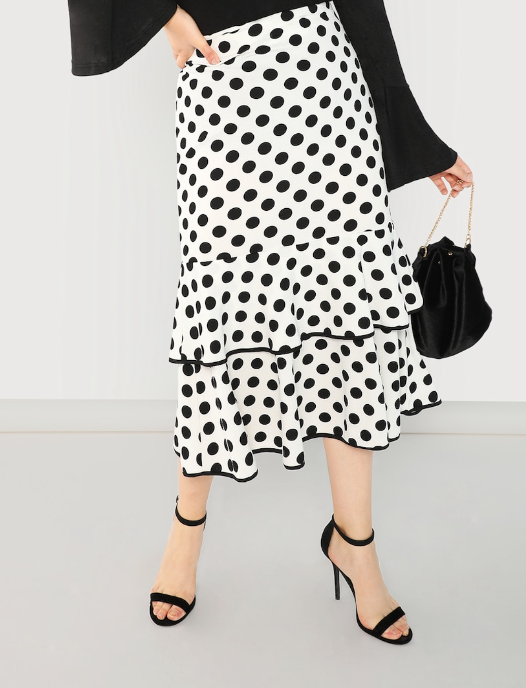 Plus Size Polka Dot Ruffle Skirt