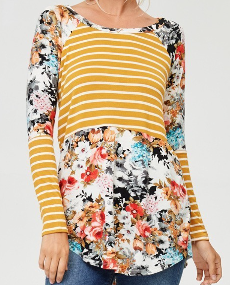 Long Sleeve Mustard and Floral Top