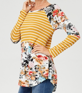 Plus Size Long Sleeve Mustard and Floral Top