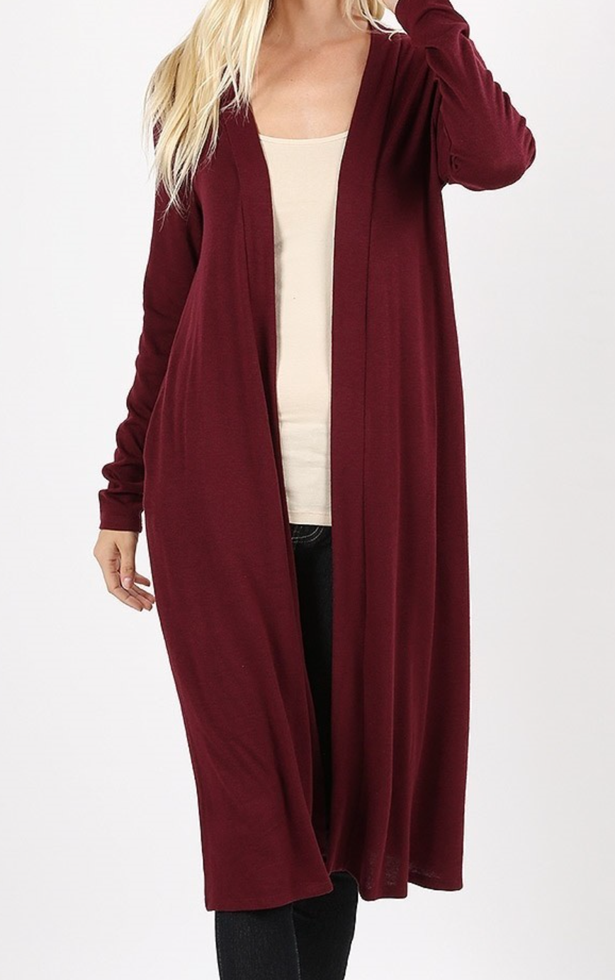 Plus Size Burgundy long Duster Cardigan