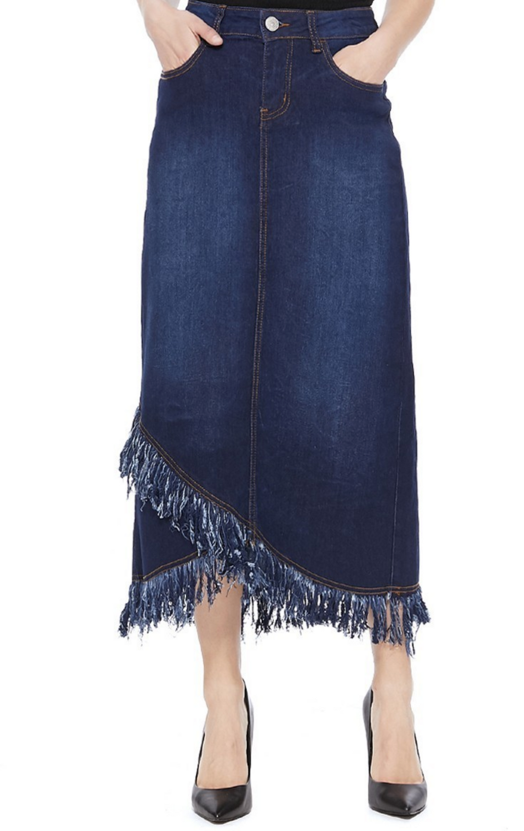 Fringe Denim Skirt
