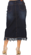 Load image into Gallery viewer, Fringe Denim Skirt