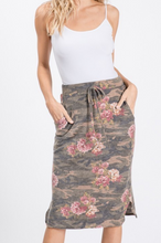 Load image into Gallery viewer, Camo Floral Drawstring Skirt
