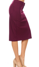 Load image into Gallery viewer, Burgundy Midi Skirt