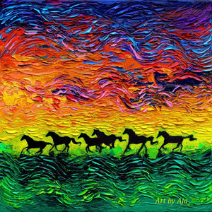 Wild Horses - Oil Painting - sunset impressionism original Art by Aja - 12x12 inches Palette knife impasto canvas