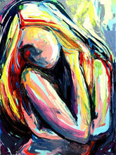Load image into Gallery viewer, Figure painting abstract nude oil on canvas by Aja huge 36x48 inches Crush