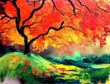 Load image into Gallery viewer, Impasto Tree - Landscape painting - palette knife oil on canvas impressionism by Aja Autumn's Fire 30x40 inches