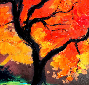 Impasto Tree - Landscape painting - palette knife oil on canvas impressionism by Aja Autumn's Fire 30x40 inches