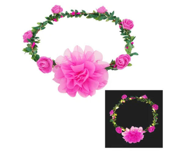 LIGHT UP FLOWER GARLAND PINK