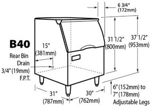 Ice-O-Matic B40PS Slopt-Front Modular Ice Bin Dimensions