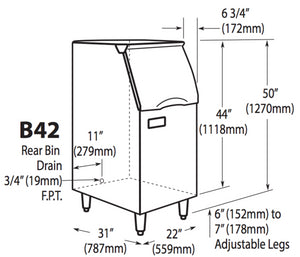 Ice-O-Matic B42PS Slope-Front Modular Ice Bin Dimensions