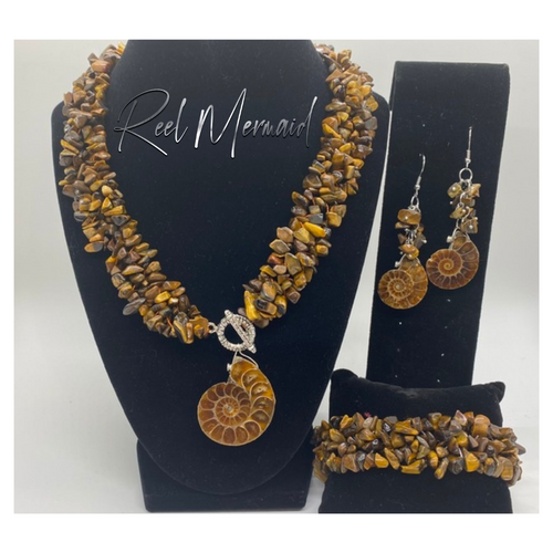 Tiger Eye and Nautilus Fossil 3 Piece Set - Island Mermaid Tribe