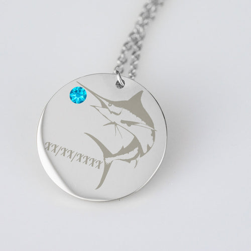 Marlin Catch and Release Charm with Birthstone and Engraved date