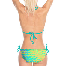 Load image into Gallery viewer, Yellow Tail Bikini with Teal Strings