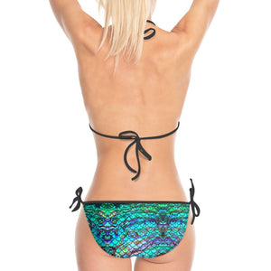 Mermaid Blues Print Bikini with Black Strings