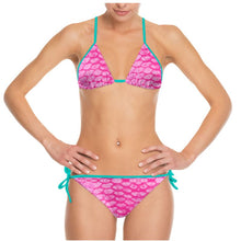 Load image into Gallery viewer, Pink Scale Bikini with Teal Strings