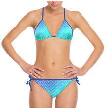 Load image into Gallery viewer, Ombre Blues Mermaid Fish Scale String Bikini