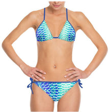 Load image into Gallery viewer, Blue Fish Scale String Bikini