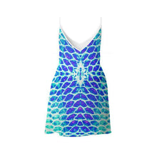 Load image into Gallery viewer, Blue Fish Scale Mini or Maxi Dress