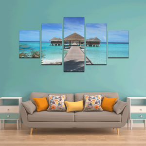 Tiki Huts Over The Water Canvas Wall Art Z (5 pieces)