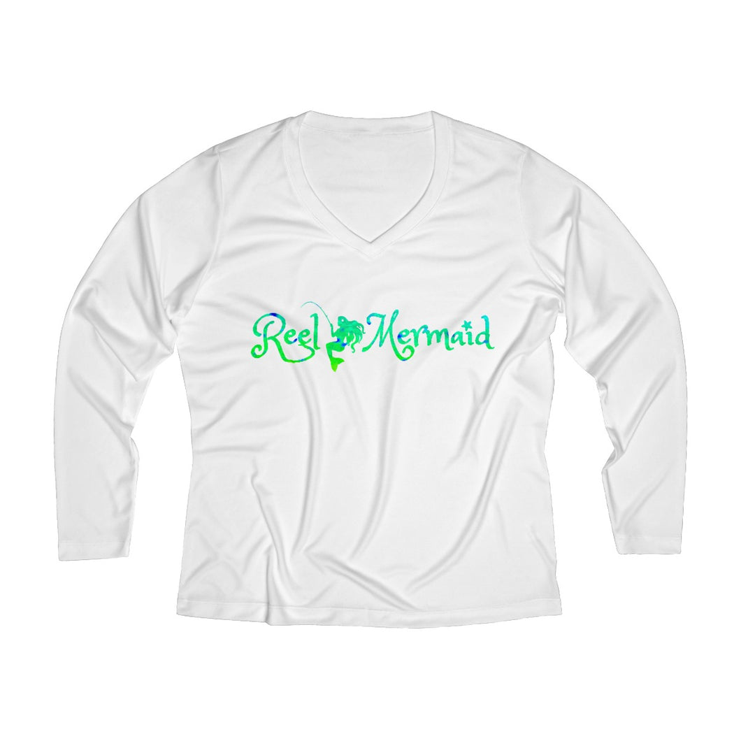 Reel Mermaid Mahi Print Ladies Long Sleeve Performance V-neck Tee