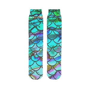 Mermaid Scale Blues Print Sock