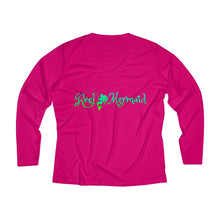 Load image into Gallery viewer, Reel Mermaid Mahi Print Ladies Long Sleeve Performance V-neck Tee