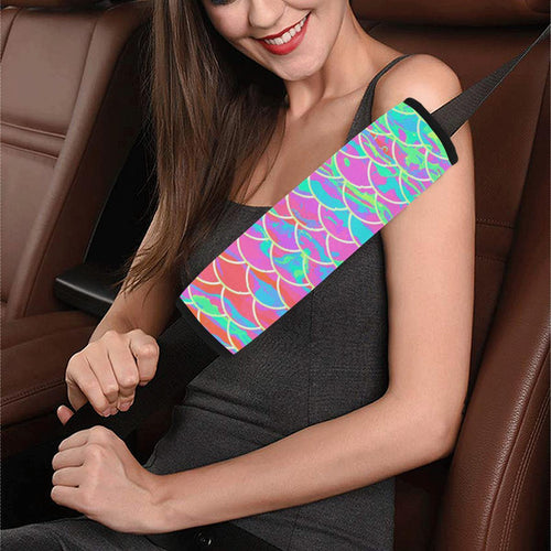 Pink Mermaid Scale Car Seat Belt Cover 7''x12.6''