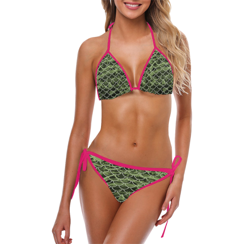 Mermaid Scale Camo Custom Bikini Hot Pink Strings