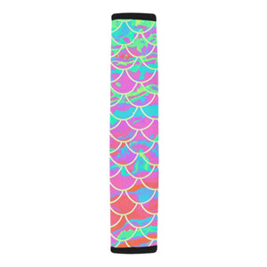 Pink Mermaid Scale Car Seat Belt Cover 7''x12.6'' - Island Mermaid Tribe