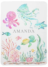 Load image into Gallery viewer, Personalized Under the Sea Baby Receiving Blanket