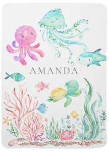 Personalized Under the Sea Baby Receiving Blanket