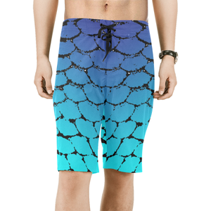 Fish Scales Ombre Men's Board Shorts - Island Mermaid Tribe