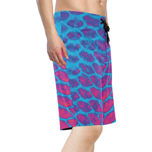 Load image into Gallery viewer, Fish Scales Blue & Pink Board Shorts
