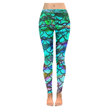 Load image into Gallery viewer, Mermaid Scale Blues Leggings