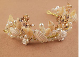 Gold Little Mermaid Tiara with Seashells, Pearls and Flowers