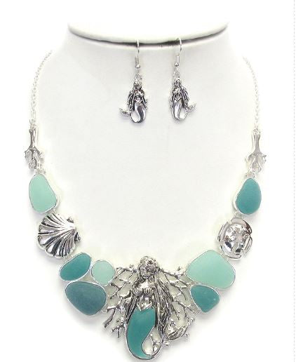 Sealife theme and sea glass necklace set - Mermaid