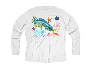 Reel Mermaid Mahi Reef Print Long Sleeve Performance V-neck Tee