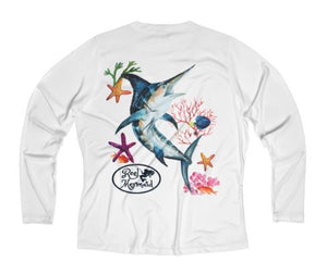 Reel Mermaid Marlin Reef Print Long Sleeve Performance V-neck Tee