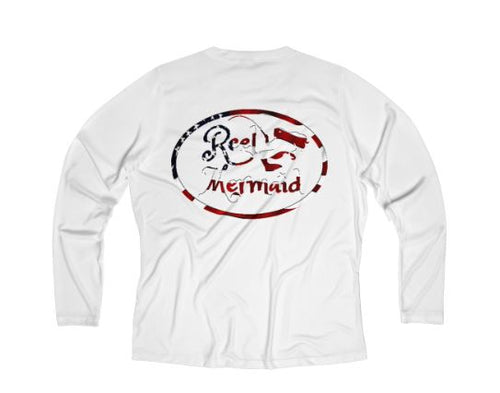 Reel Mermaid Patriotic Print Long Sleeve Performance V-neck Tee
