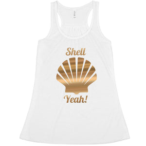 Shell Yeah Gold Metallic Tank Top