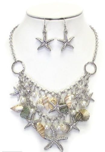 Mermaid Seashells, Starfish and Pearls Necklace and Earrings Set