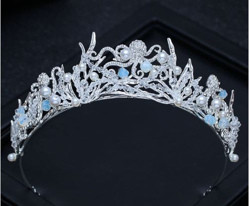 Mermaid Tiara with Crystals and Pearls