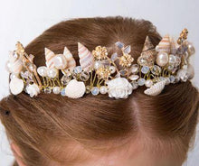 Load image into Gallery viewer, Gold Little Mermaid Tiara with Seashells, Pearls and Flowers - Island Mermaid Tribe