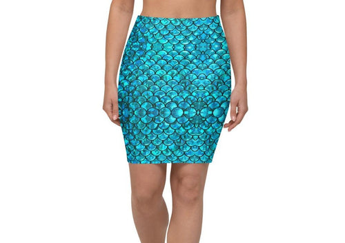 Mermaid Teals Pencil Skirt
